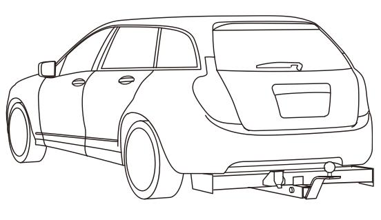 メインバーがバンパー外まではみ出ているため、車の外観を露骨に崩してしまう施工例 参考画像1